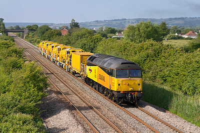 47739 'Robin of Templecombe 1938-2013' heads re-furbished HOBC ballast wagons as the 6Z56 15.12 Cardiff to Taunton Fairwater Yard past Crooked Lane, Brent Knoll. Friday 5th July 2013.