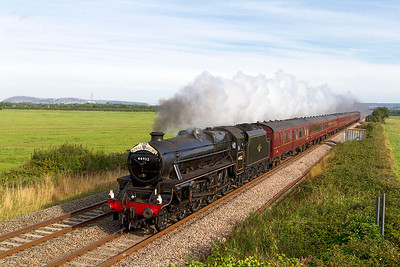 44932 heads 'The Royal Duchy' from Bristol Temple Meads to Par past Brean Road, Lympsham. Sunday 1st September 2013.