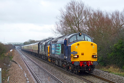 """Pathfinder Tour's """"Hallaba-Looe"""" 1Z92 09.53 Bristol Temple Meads to Looe passes Worle Parkway in the rain powered by 37609 & 37218 with 37608 dead on the rear. Sunday 10th February 2013."""