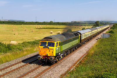 """With Network Rail's steam ban in place due to fire risk today's """"Torbay Express"""" from Bristol Temple Meads to Kingswear had 47812 in charge passing Brean Road, Lympsham. Sunday 7th July 2013."""