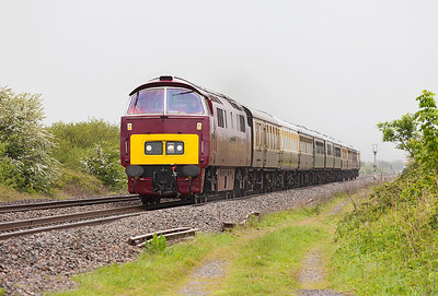 1015 'Western Champion' passes a very wet Hewish Level Crossing with 1Z52 07.00 Solihull to Plymouth. Saturday 10th May 2014.