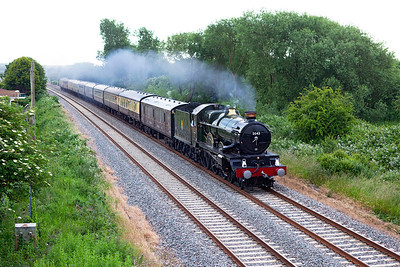 "5043 'Earl of Mount Edgcumbe' returns ""The Whistling Ghost II"" 1Z35 18.40 Bishops Lydeard to Tyseley charter along the Weston-super-Mare avoiding line at Hutton Moor. Saturday 14th June 2014."