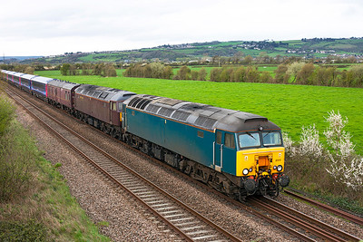 West Coast Railway's 57313 & 47746 head the 5Z00 05.55 Kilmarnock (Barclay Sidings) to Plymouth Laira Depot FGW refurbished HST coaches past Lympsham. Saturday 5th April 2014.