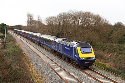 1A16 07.41 Penzance to Paddington with power cars 43042 & 43028 pass Hutton Moor on the Weston-super-Mare avoiding line. Monday 6th January 2014.