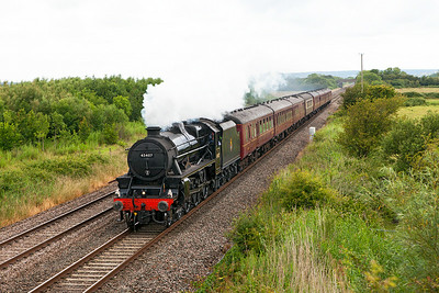 "45407 'Lancashire Fusilier' passes Middle Street, Brent Knoll with ""The Royal Duchy"" 08.12 Bristol Temple Meads to Par. Sunday 29th June 2014."
