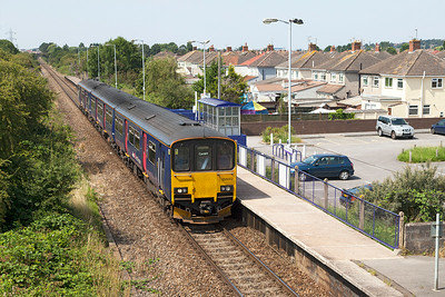 Prototype Class 150, 150002 passes Weston Milton forming 2U14 11.04 Taunton to Cardiff Central. Friday 25th July 2014.