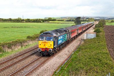 "47853 heads the ""Somerset Coast Express"" 1Z91 06.43 Hooton to Minehead charter past Brean Road, Lympsham. 47813 is dead on the rear. Saturday 26th April 2014."