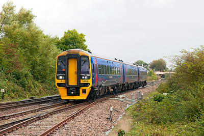 158956 departs from Yatton forming 2C71 10.00 Cardiff Central to Taunton. Friday 29th August 2014.