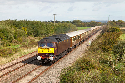 "47804 heads the 1Z60 06.30 ""Cornish Riviera Statesman"" Derby to Kingswear past Middle Street, Brent Knoll. 57314 is DOR. Saturday 30th August 2014."