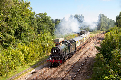 "5029 'Nunney Castle' passes Uphill Junction with the down ""Torbay Express"". Sunday 20th July 2014."