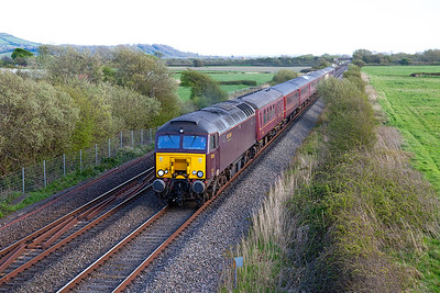 57313 & 57315 top & tail a returning charter past Lympsham running as 1Z89 15.18 Penzance to Chester. Saturday 30th April 2016.