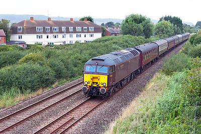 "57316 heads the ""Royal Duchy"" tour past Oldmixon on the Weston-super-Mare avoiding line. Having departed Bristol with diesel power, Duchess of Sutherland will take over at Taunton for the run to Par. Sunday 7th August 2016."
