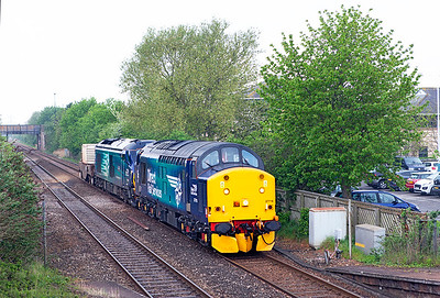 37716 & 68016 'Fearless'pass Worle Parkway with FNA 550037 running as 6M63 11.57 Bridgwater Up Yard to Crewe Coal Yard flask working. Tuesday 10th May 2016.