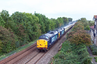 "37601 'Class 37-Fifty' & 37612 pass Summer Lane, Worle heading Pathfinder's postioning train 1Z49 10.21 Eastleigh to Paignton prior to working the next days ""Autumn West Highlander' tour. Thursday 29th September 2016."