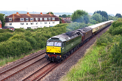 """Vintage Trains' 47773 (D1755) with WCRC's 47237 DIT heads """"The Whistling Ghost"""" tour, 1Z73 08.04 Tyseley to Bishops Lydeard along the Weston-super-Mare avoiding line at Oldmixon. Saturday 18th June 2016."""