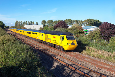 The New Measurement Train (NMT) with power cars 43062 'John Armit' & 43014 'The Railway Observer' pass Oldmixon on the Weston-super-Mare avoiding line running as 1Z18 15:46 Paignton to Taunton via Bristol Temple Meads. Friday 26th August 2016.