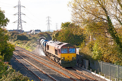 The Barton Hill RHTT 3S59 returns from Weston-super-Mare approaching Worle Junction top & tailed by 66051 & 66133. Friday 21st October 2016.