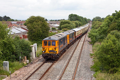 GBRF's private charter for the Weston-super-Mare Airdays with 73961 'Alison' & 73964 'Jeanette' (Complete with 'Tonbridge Trailblazers' headboard) crosses over at Worle Junction running as 1Z61 07.18 Ashford to Weston-super-Mare. The ECS would continue to Bishops Lydeard on the West Somerset Railway for servicing. Saturday 18th June 2016. (First visit of Class 73's to this area?)