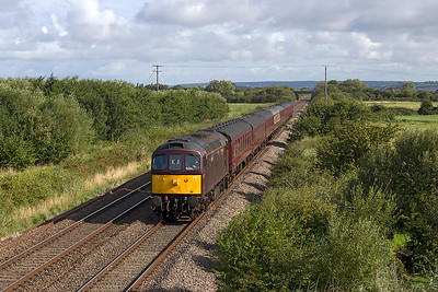 """33207 'Jim Martin' heads """"The Royal Duchy"""" from Bristol to Taunton past Middle Street, Brent Knoll. Steam will take over from Taunton for the rest of the journey to Par. Sunday 6th August 2017."""