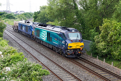 68001 'Evolution' & 68030 head 6M63 11.58 Bridgwater to Crewe Coal Sidings with FNA 550049. Wednesday 28th June 2017.