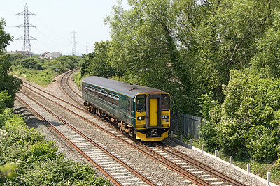 153373 comes off the loop line at Worle Junction forming 2D12 12.09 Weston-super-Mare to Bristol Parkway. Wednesday 21st June 2017.