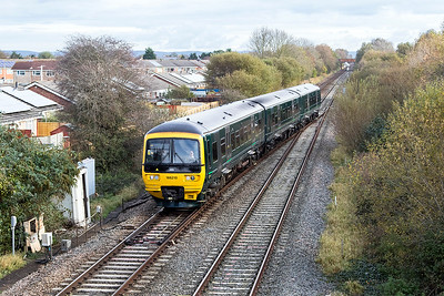 The cascade of Turbo DMU's has seen them start working services based on Bristol. 166 210 crosses over at Worle Junction forming 9C69 09.00 Cardiff to Taunton. Presume the 9 headcode is due to their route restrictions because of loading gauge. Saturday 4th November 2017.