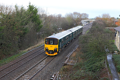 Prototype 150, 150002 passes Worle Parkway running as 5Z74 14.09 St. Philips Marsh HST Depot and return via Highbridge Loop test run. Tuesday 7th February 2017.