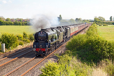 "34046 running as 34052 'Lord Dowling' & 46100 'Royal Scot' head ""The Great Britain X"" 15.50 Exeter St. Davids to Paddington past Middle Street, Brent Knoll. Sunday 7th May 2017."
