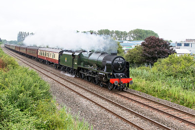 "46100 'Royal Scot' passes Oldmixon on the Weston-super-Mare avoiding line with ""The Dartmouth Express"" Woking to Kingswear. The steam locomotive came on the train at Bristol Temple Meads. Saturday 24th June 2017."