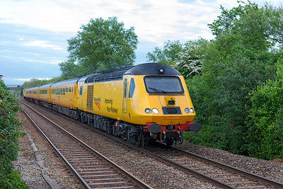 Following a block behind the slow moving Class 31 was the NMT with Power Cars 43013 & 43014 'The Railway Observer' running as 1Z18 15.46 Paignton to Taunton. Normal routing is via Temple Meads but today went via Bristol Parkway and was running an hour down. Friday 5th May 2017.