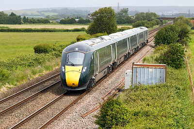 800004 'Isambard Kingdom Brunel'' passes Brean Road, Lympsham running as 5X19 07.34 North Pole IEP Depot to Taunton test run. Friday 16th June 2017.