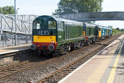 SVR based D407 (50007) 'Hercules', 50049 'Defiance', 20059 & 20188 pass Worle Parkway running as 0Z50 08.56 Bishops Lydeard to MRC Butterley following the appearance of the Class 20's at West Somerset Railway Diesel Gala. Wednesday 14th June 2017.