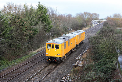 73951 'Malcolm Brinded' (Ex 73104) & 73952 'Janis Kong' (Ex 73211) pass Worle Parkway running as 0V84 10.03 Derby RTC to Plymouth and return to Taunton.  Tuesday 7th February 2017.