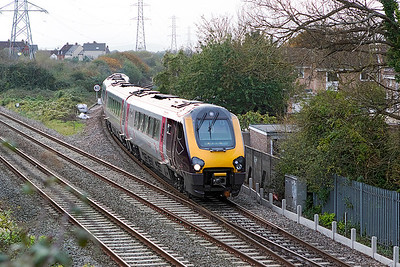 220007 comes off the Weston-super-Mare loop line at Worle Junction forming 1M93 14.04 Paignton to Manchester Piccadilly. Thursday 26th October 2017.