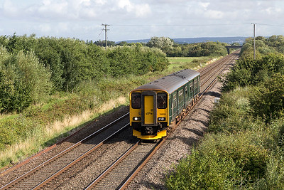 150232 passes Middle Street, Brent Knoll forming 2C45 08.28 Bristol Temple Meads to Penzance. Sunday 6th August 2017.