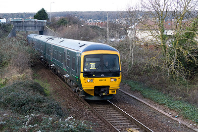 166 219 passes Drove Road on the exit from Weston-super-Mare forming 9C75 12.00 Cardiff Central to Taunton. Friday 5th January 2018.