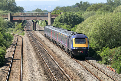 43192 & 43095 pass under Bishton Flyover forming the 13.55 Cardiff to Paddington. 28/04/2011.