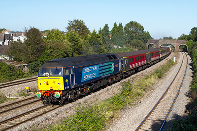 47810 'Peter Bath MBE 1927-2006' top & tailed with 47805 return the empty stock of 'The Africa Express' past Undy as 5Z72 15.28 Bristol Temple Meads to Cardiff Pengam sidings running an hour late. Friday 7th September 2012.