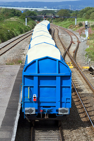 Rear view of 6Z22 heading towards the Severn Tunnel showing the converted timber carrying wagons. Monday 10th September 2012.