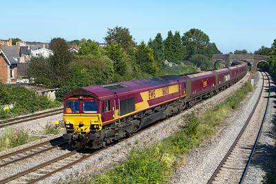 66031 passes Undy with 4O11 12.20 Didcot Power Station to Onlwyn empty HTA's. Friday 7th September 2012.