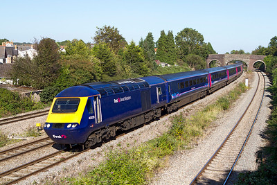 Power cars 43029 & 43135 power the 14.15 Paddington to Cardiff Central past Undy. Friday 7th September 2012.