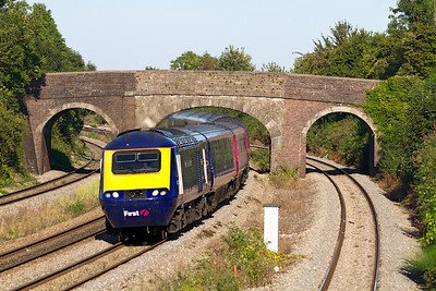 The 15.15 Paddington to Cardiff Central HST service passes under the 3 arch bridge at Undy. Friday 7th September 2012.