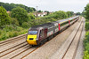 The diverted 1V50 09.00 Leeds to Plymouth with power cars 43357 & 43303 passes Magor. Sunday 25th August 2013.