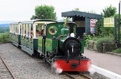 'St Egwin' arrives at Evesham Vale Halt on the Evesham Vale Light Railway. Wednesday 21st August 2013.