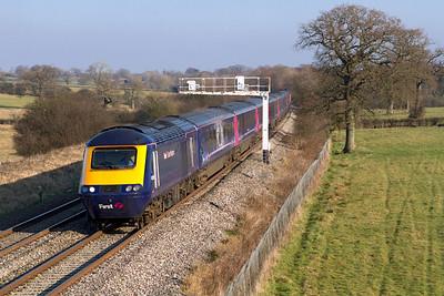 43016 & 43031 pass Acton Turville powering the 12.15 Paddington to Cardiff. Wednesday 1st February 2012.