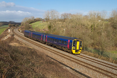158950 forming the 10.50 Great Malvern to Brighton passes Huntingford. Friday 27th Januarty 2012.