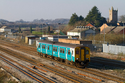 150250 arrives at Severn Tunnel Junction forming the 11.15 Maesteg to Cheltenham Spa. Monday 16th January 2012.
