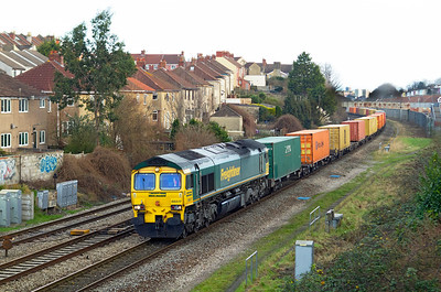 66517 passes Parson Street at the end of it's journey with 4V34 04.45 Felixstowe to Bristol Freightliner Depot, Saturday 7th January 2012.
