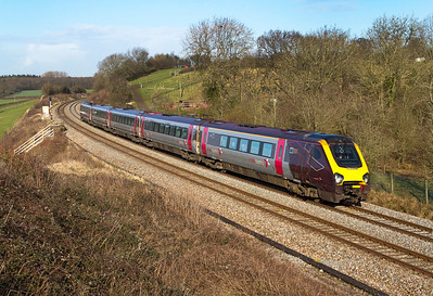221127 forming the 09.07 Manchester Piccadilly to Bristol Temple Meads passes Huntingford, Friday 27th January 2012.