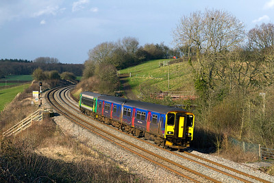 150265 & 153333 pass Huntingford forming the 12.41 Gloucester to Frome. Friday 27th January 2012.